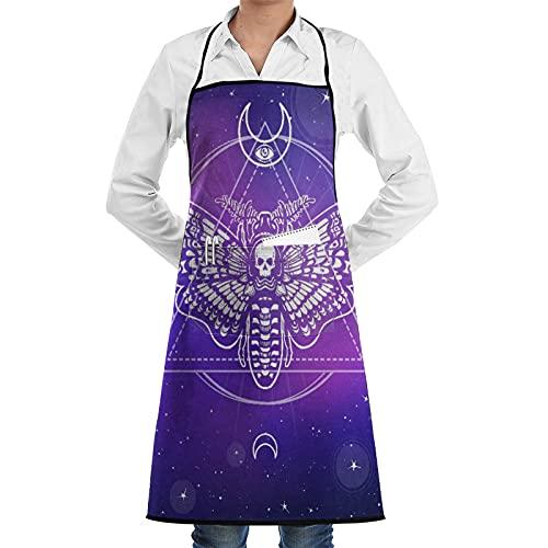 ASNIVI Delantal de cocina impermeable para hombres delantal de chef para mujeres restaurante de BBQ,Cabeza de polilla muerta Símbolo esotérico Fondo de geometría sagrada de la estrella Cielo Espacio