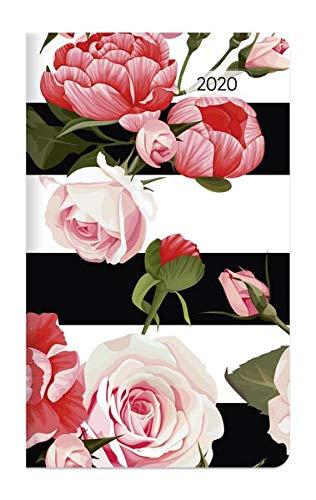 Taschenplaner Style Rosen 2020 - Taschenkalender (9,5 x 16) - seperates Adressheft - 1 Seite 1 Woche - 64 Seiten - Terminplaner