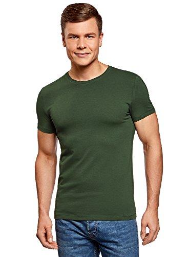 oodji Ultra Hombre Camiseta Básica Entallada, Verde, XL