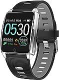 QHG Salud Inteligente Reloj Cardy Ritmo carorie Monitor multifunción Deportes Deportes rastreador de Aptitud de la presión Arterial RECORDATOR DE Llamada Reloj Bluetooth (Color : Silvergray)