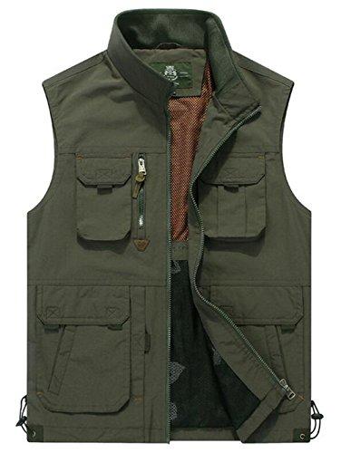 Herren Outdoor Weste mit vielen Taschen   super praktisch Sports Jacke Weste (X-Large, Armee Grün 87)