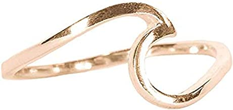 Pura Vida Rose Gold Coated Wave Ring - Gold Plated .925 Sterling Silver - Size 5-9