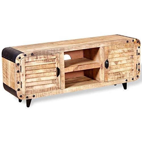 VidaXL 244009 TV-kast, tv-tafel, hifi lowboard, ruw mangohout, 120 x 30 x 50 cm, één maat