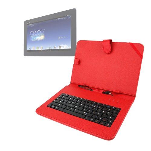 DURAGADGET Schutzhülle aus Kunstleder mit Standfunktion & Micro USB Deutsche Tastatur + gratis Eingabestift für Asus VivoTab RT TF-600T 25,65 cm tablet-grau (NVIDIA Tegra 3 1,6 gHz, 64 GB eMMC, Windows RT)/ASUS Memo Pad ME302 + inklusive Geschenk: Micro USB OTG Netzteil