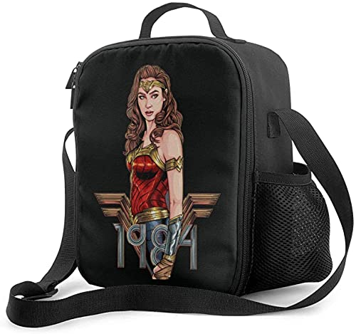 KEROTA Wonder-Woman 1984 Bolsa de almuerzo aislada con correa para el hombro, caja de almuerzo contenedor de almuerzo para niños y niñas viaje picnic