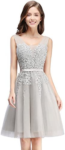 Babyonlinedress Women s Short Tulle Corset Cocktail Dress for Wedding Gray 14 product image