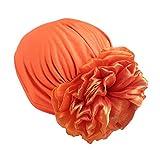 Muslim Women Flower Elastic Turban Beanie Head Scarf wrap Chemo Cap hat for Cancer Patient (Orange)