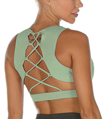 icyzone Strappy Sports Bra for Women - Sexy Gym Workout Yoga Bra with Removable Cups (M, Pastel Green)