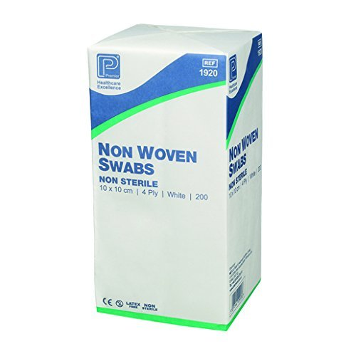Premier 3 X Non-Sterile Non-Woven Swabs 4 Ply 7.5 cm x 7.5 cm White Paper Packs (Pack of 200)