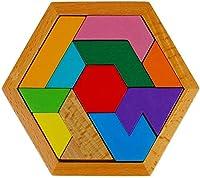 Zenghh 11個のブロック木製Burlywoodビルディングブロックタングラム図形パズル子供の大人のジグソーパズルのおもちゃのギフトミニカラフルな組み立てパズルゲームファミリー活動 (Color : D)