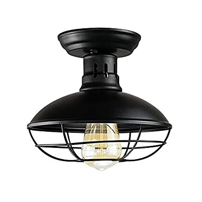 Longwind Industrial Vintage Metal Black Cage Ceiling Light Fixture Semi Flush Mount Pendant Lighting for Farmhouse Porch Kitchen Bathroom