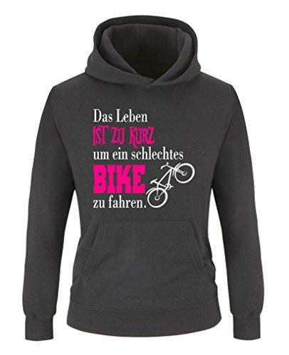 Comedy Shirts - Das Leben ist zu kurz um EIN schlechtes Bike zu Fahren - Mädchen Hoodie - Schwarz/Weiss-Pink Gr. 134/146