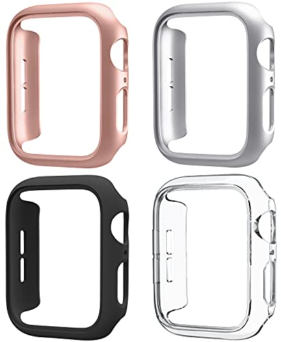 Mugust 4 Pack Compatible for Apple Watch Case 38mm Series 3 2 1, Hard PC Bumper Case Protective Cover Frame Compatible for iWatch 38mm, Black/Rose Gold/Silver/Clear