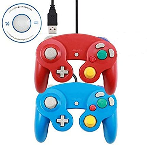 PC Controller,USB Wired Classic Gamepad for Windows PC MAC (Red +Blue)