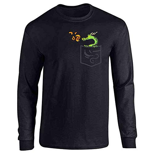 Pocket Pets Dragon Fantasy Cute Faux Pocket Black XL Full Long Sleeve Tee T-Shirt