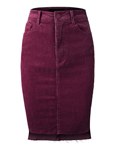 makeitmint Damen Casual Dailywear Kord-Midirock mit Taschen [4 Farben] - Rot - Klein