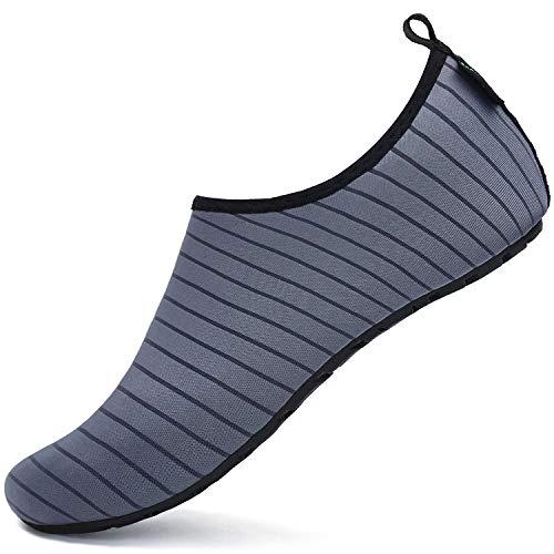 SAGUARO Hombre Mujer Zapatos de Agua Playa Escarpines Zapatillas de Deportes Acuáticos Buceo Surf Snorkel Yoga Piscina, Gris 42/43