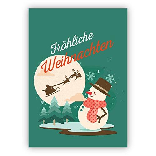 Groene retro kerstkaart met vintage sneeuwman en vliegende kerstman slee: vrolijke kerst • kerstwenskaarten set met envelop voor het feest van de liefde als cadeaukaart voor familie en vrienden 4 Weihnachtskarten