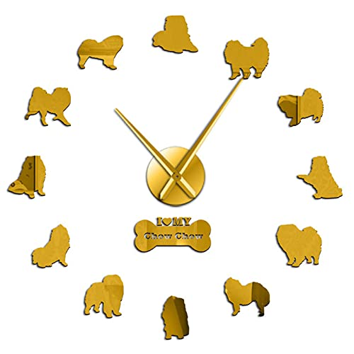 Reloj de Pared, Pegatinas para Espejo de Perro, decoración del hogar, Reloj...