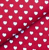 0,5m Stoff Herzen rot weiß 100% Baumwolle Meterware Herz