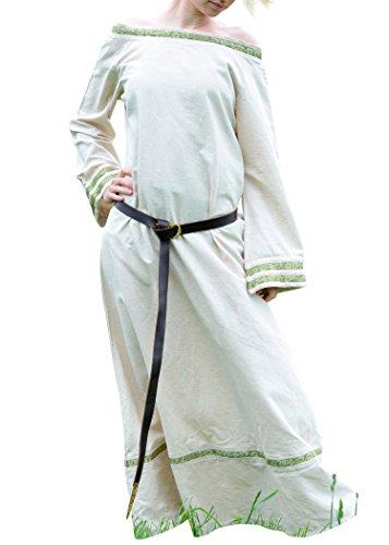 Battle-Merchant Mittelalterkleid Nessa aus Baumwolle/Leinen Kleid für Wikinger, LARP, Mittelalter Farbe Natur/Bordeaux