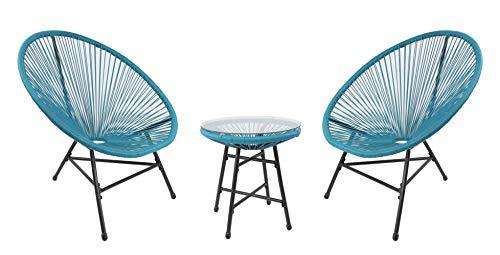 RayGar Juego de 3 sillas para jardín de diseño de huevo Bistro para interiores y exteriores (azul)