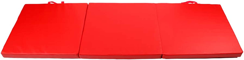 ZJ 5.9 × 1.9ft Gymnastikmatte, dreifachgefaltet, Indoor für Gymnastik, Aerobic, Yoga, Kampfsport, Wasserdicht 5 cm dick - rote Farbe