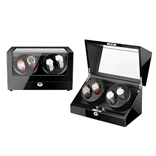 Caja Giratoria para Relojes Automático Watch Winder 4 + 0 Luxury Watch Caja de presentación Caja de almacenamiento Piano Paint, Motor silencioso, 5 modos de rotación, lámpara LED de ambiente, Regalo C