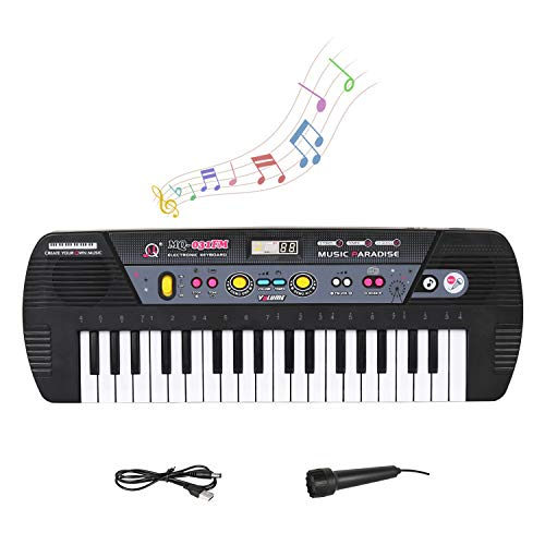 M SANMERSEN 37 Keys Piano Keyboard, Portable Kids Piano with Microphone Electronic Music Piano with FM Radio Function Keyboard Toys for 3-8 Years Old Kids Boys Girls