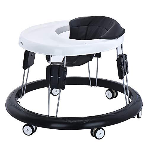 Andador Bebe, Silla de Bebe Plegable y Ajustable para bebés de 6 a 18 meses (PU Negro)