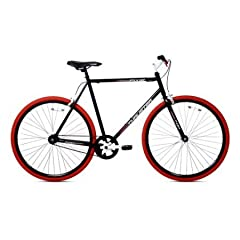 Steel frame Steel fork Alloy brakes front and rear 700C alloy rims Steel rise stem Full-protection chain guard Black/red Fixie bike