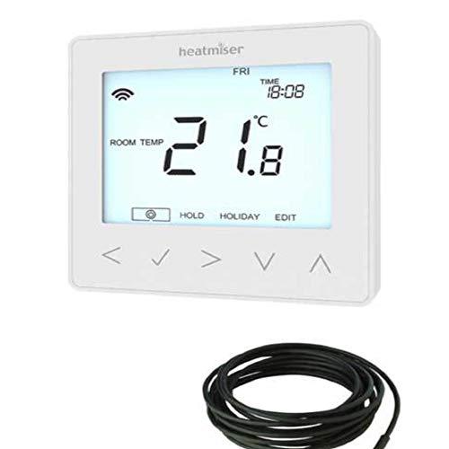 Heatmiser neostat-e électrique sol Chauffage Thermostat Glacier Blanc