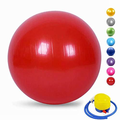 YANGHUI Anti-Burst Gymnastikball mit Pumpe, für die Stabilität und Core Training, Schreibtisch Stuhl Ball, Gebären Ball, Yoga, Pilates, und Physiotherapie,Rot-35cm