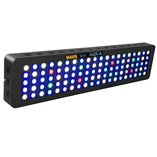 MarsAqua Dimmable 300W LED Aquarium Light 55 Gallon Coral Reef Light Full Spectrum for Fish Freshwater and Saltwater Coral Tank Blue and White LPS/SPS with Daisy Chain