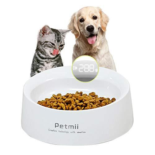 Suntapower Ciotola per Alimenti per Animali Domestici, Ciotola per Alimenti per Cuccioli di Cane Gatto con Funzione di Pesatura degli Alimenti e Display LCD