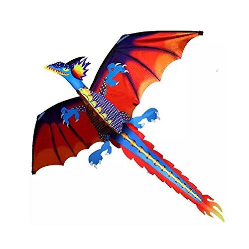 Spielzeug Zhen 3D Dragon Kite, Einleiner Drachen für Kinder - Beeindruckender Kinderdrachen mit Schweif, Abmessung: 65x13x6cm - inkl. Drachenschnur (A)