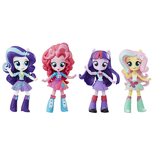 My Little Pony Twilight Sparkle, Pinkie Pie, Rarity & Fluttershy Toys - Equestria Girls 4.5-Inch Mini-Dolls, Ages 5 and Up (Amazon Exclusive)