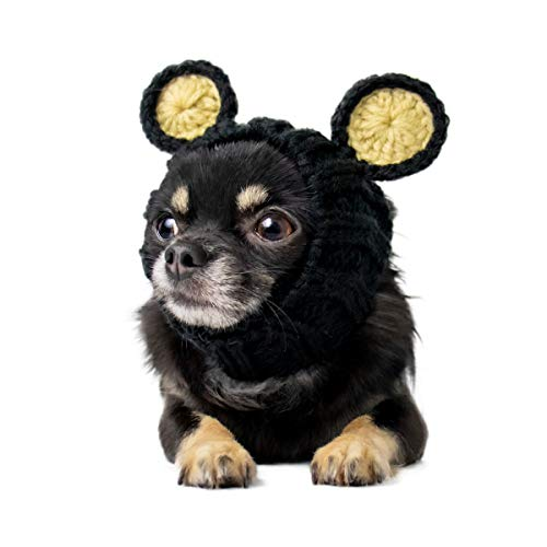 Zoo Snoods Black Bear Dog Costume - Neck and Ear Warmer Hood for Pets (Small)