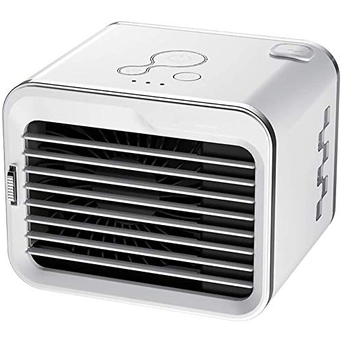 ZZFF Mini Ventilador De Aire Acondicionado,Portátil Ventilador con Humidificador Purificar,3 Velocidades Recargable Silencioso Enfriador De Aire,Refrigerador Evaporativo Blanco 15x18x18cm(6x7x7inch)