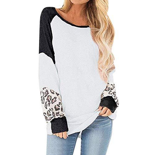 Blusa Suelta de Retazos de Leopardo para Mujer Primavera y otoño Suéteres Casuales Mangas abullonadas Tops Moda Casual Camisa de algodón Cuello Redondo Elasticidad Puño Oversize Casual Top S-XXL