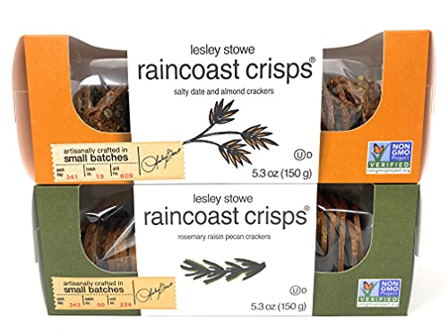 Raincoast Crisps Crackers Crisp Snack Cracker Variety Bundle - Salty Date & Almond, Rosemary Raisin Pecan Crackers by Lesley Stowe   2 Pk - 5.3 oz