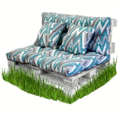 BCASE Pack Cojin Palet Fibra + Cojín Respaldo para Palés Acolchados, Cojín Relleno, Incluyen Cojín de Respaldo y Asiento, Ideal para Jardín, Terraza, Patio y Balcón, Azul Raya