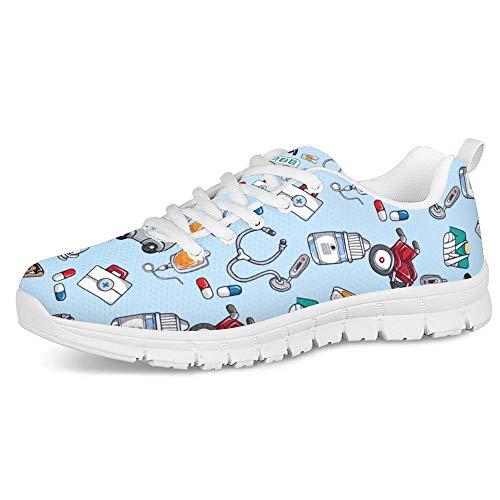 Polero - Zapatillas deportivas con dibujos de enfermería para mujer, para el tiempo libre, con cordones, color azul claro, 38UE