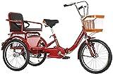 SN Triciclos para Adultos 20 Pulgadas Bicicletas De 3 Ruedas Crucero Triciclo para Personas Mayores Mujer Hombres con Horquilla Suspensin Cesta Compra Y Asiento Trasero (Color : Red)