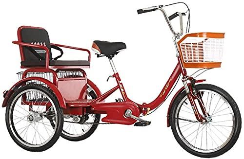 SN Triciclos para Adultos 20 Pulgadas Bicicletas De 3 Ruedas Crucero Triciclo para Personas Mayores Mujer Hombres con Horquilla Suspensión Cesta Compra Y Asiento Trasero (Color : Red)