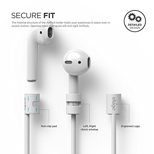elago Silicone Strap Compatible with Apple AirPods 1 & 2 - Ideal Length, Compact, Lightweight - White