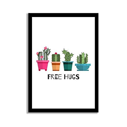 Dkisee Free Hugs Kaktusenschild, Holzrahmen, Wandkunst, Schild für Zuhause, Büro, Wanddekoration, Sperrholz, multi, 20*29cm