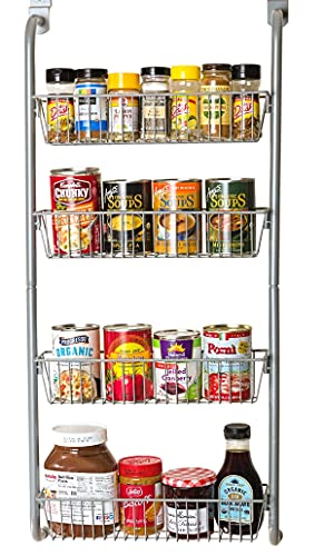 Bee Home Over the Cabinet Pantry Door or Wall Mounted Heavy Duty Metal Basket Organizer Storage Rack for Kitchen, Bathroom, Office, Toy Room includes hooks for over the door or wall mounting (4 Tier)