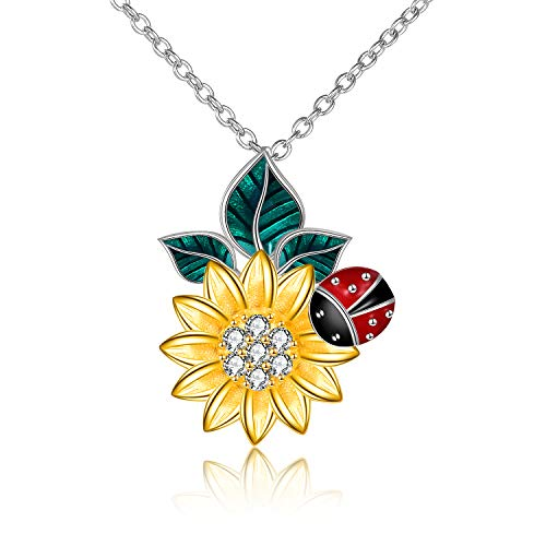 LUHE S925 Sterling Silver Sun Flower Ladybug Pendant Necklace Jewelry Gifts for Girlfriend Mom (Sunflower necklace)