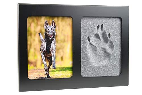 Tierisch-tolle Geschenke 3D Pfotenabdruck Set Lieblingshund inklusive schwarzem Bilderrahmen und 2 Formschaumplatten (ohne Gips) für Hund/Katze